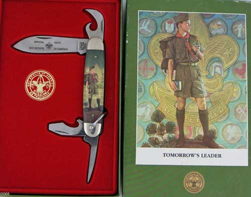 Camillus Boy Scouts of America Four Blade Scout Knife Norman Rockwell Tomorrow's Leaders 1002