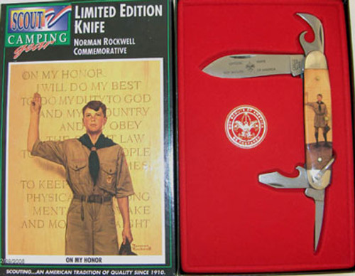 Camillus Boy Scouts of America Four Blade Scout Knife Norman Rockwell On My Honor 787