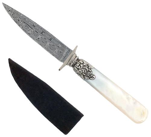 R.B. Johnson Custom Gentlemen's Office Knife Mother of Pearl Damascus