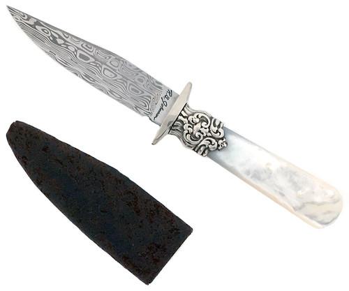 R.B. Johnson Custom Gentlemen's Small Office Knife Mother of Pearl Damascus