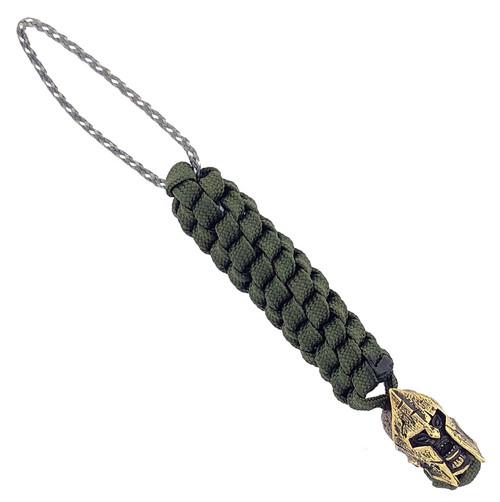 Lion Armory Spartan Warrior Brass Bead Lanyard OD Green