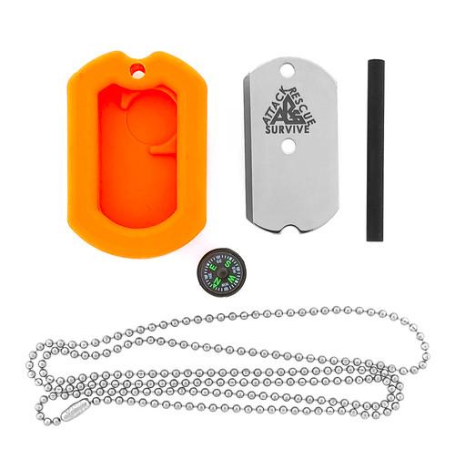 Attack Rescue Survive ARS Dog Tag Survival Knife Kit Orange DT003O