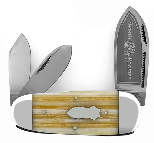 Fight'N Rooster Elephant Toe Whittler Striped Cream Celluloid