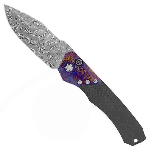 Heretic Knives Wraith Auto Carbon Fiber Damtanium Bolster Polished Vegas Forge Damascus Blade H000-VF-DAM