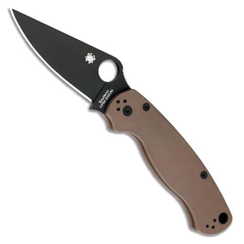 Spyderco Paramilitary 2 Compression Lock Earth Brown G-10 Handle DLC Blade C81GPBNBK2