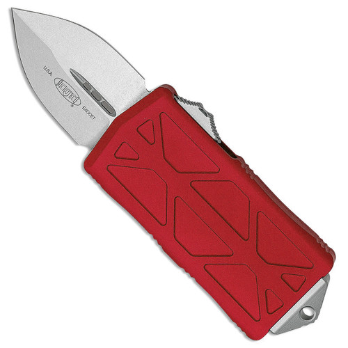 Microtech Exocet D/E Red Stonewash Standard Cali Legal OTF Money Clip 157-10RD