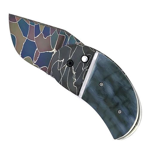 Philip Booth Custom Model 16 Minnow Auto Ancient Blue Mammoth Ivory Handle  Ponzio Damascus Blade