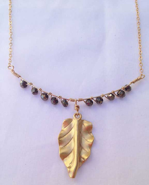 Gold Leaf Charm Bib Necklace Magali Designs Leather Fanny Pack
