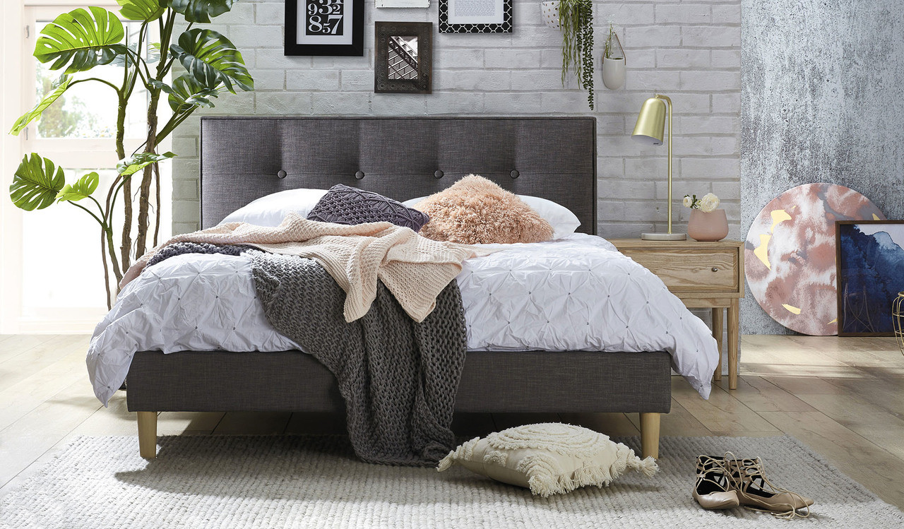 Affordable Grey Fabric Queen Size Bed With Tufted Buttoned Headboard Focus On Furniture