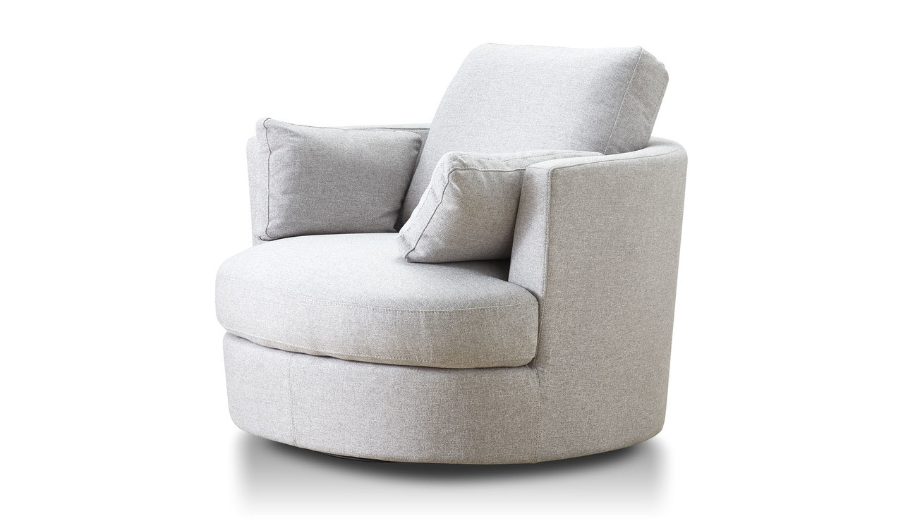 academy swivel chair in light grey fabric 3 quarter