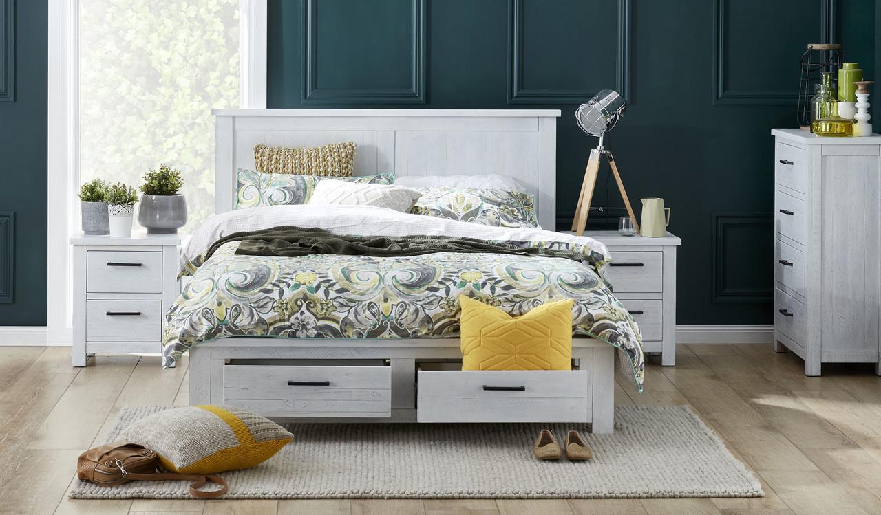 Bella White Wash Distressed Bedroom Suite