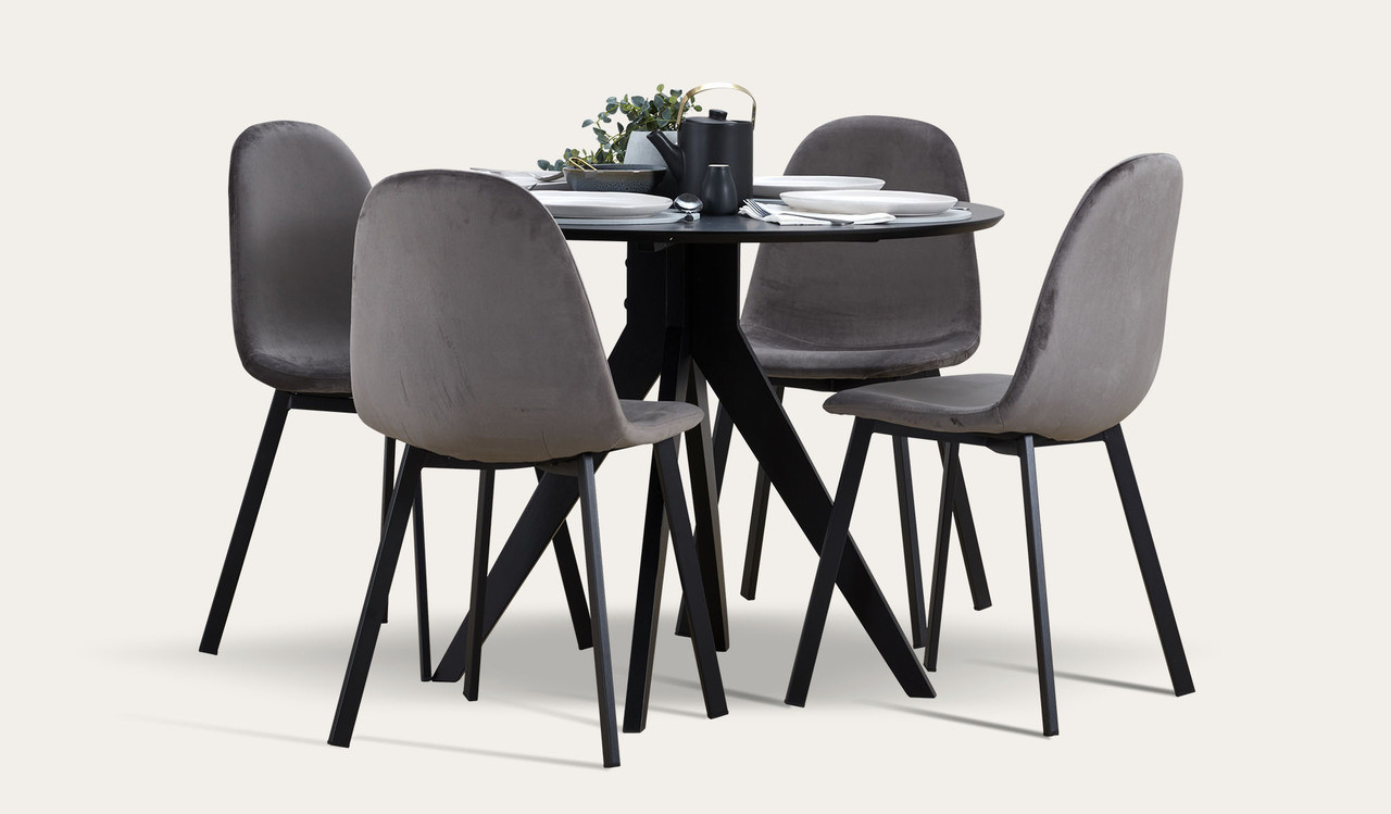 Zaria Black 5 Piece Dining Suite With Orson Velvet Dining Chairs Focus On Furniture
