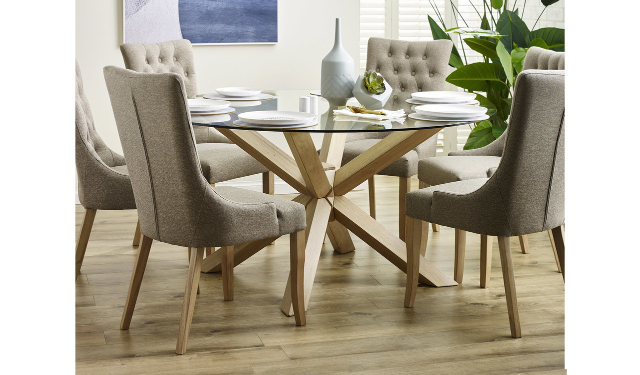 Miles Round Glass Top Dining Table With Chunky Geometric Timber Legs