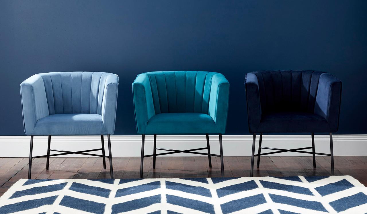 cancoon velvet armchair mid century modern