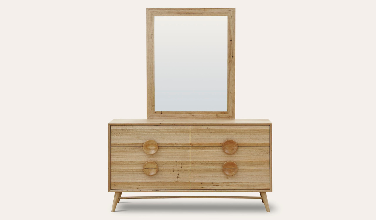 Taringa Wormy Chestnut Timber Dresser Mirror With Large Button Handles Focus On Furniture