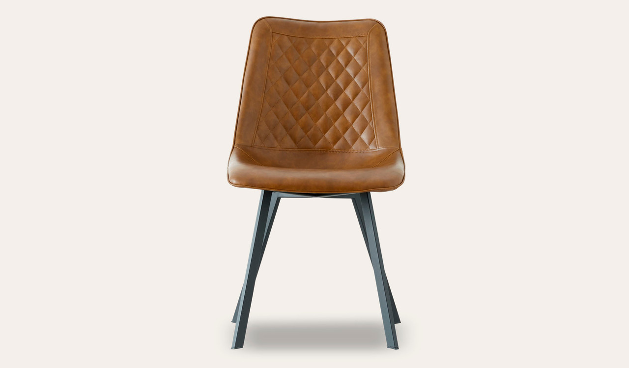 Cruze tan leather look dining chair front on