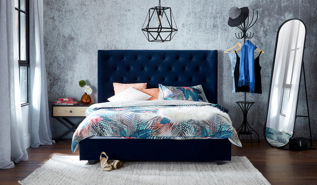 Grande Blue Velvet Bed Focus On Furniture