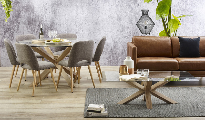 Miles Dining Suite With Round Glass Top Table And Alice Dining