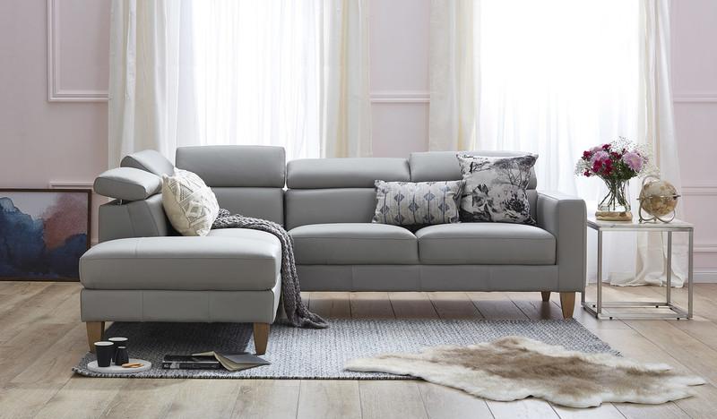 Brando leather corner chaise lounge