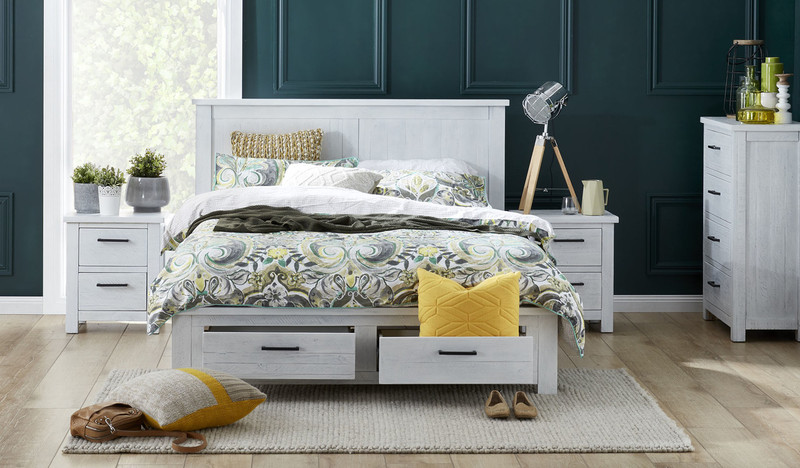 Bella White Wash Distressed Bedroom Suite
