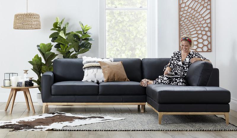Imani leather 5 seat corner chaise lounge