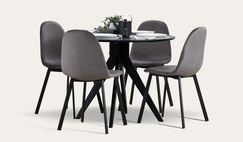 Zaria black 5 pce suite with Orson chairs