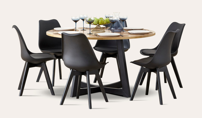Esperance 7 pce round dining with Vibe chairs