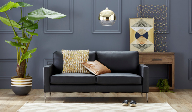 Acer leather 3 seat sofa