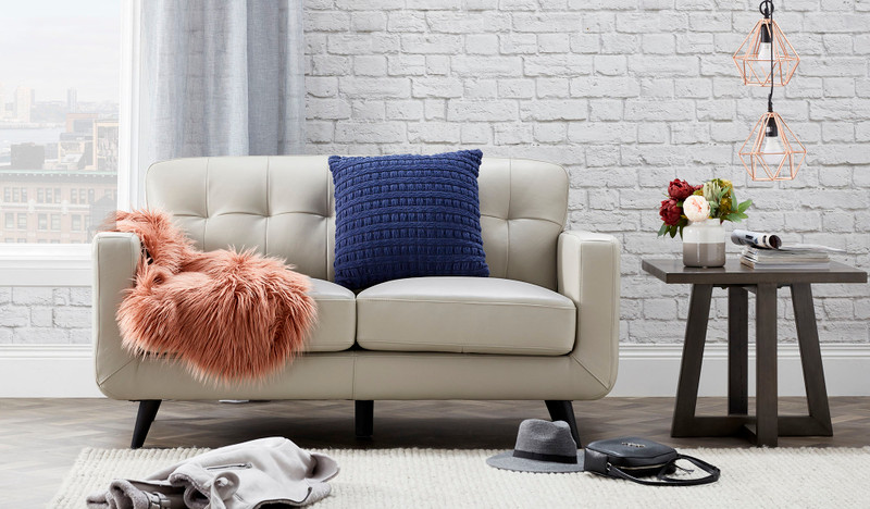 Abbie leather 2 seat sofa