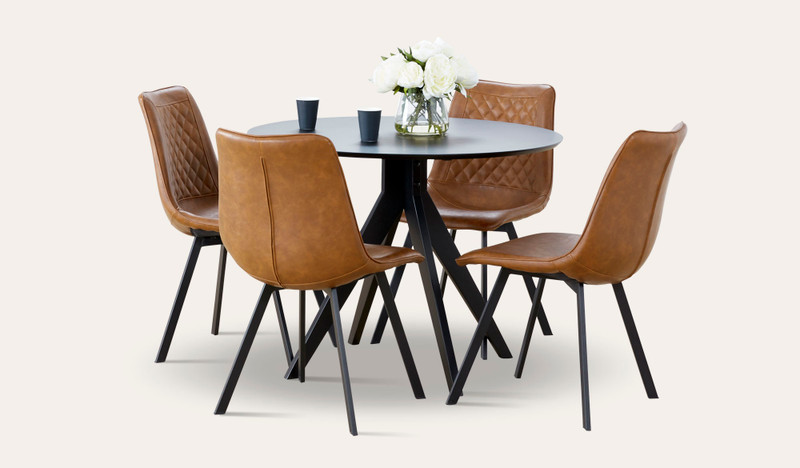 Zaria 5 pce suite with tan Cruze chairs