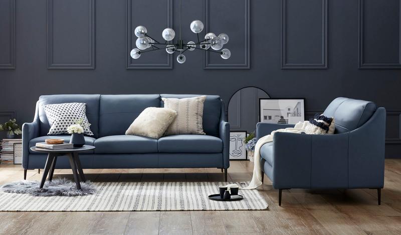 Condo leather 3 + 2 sofa suite blue