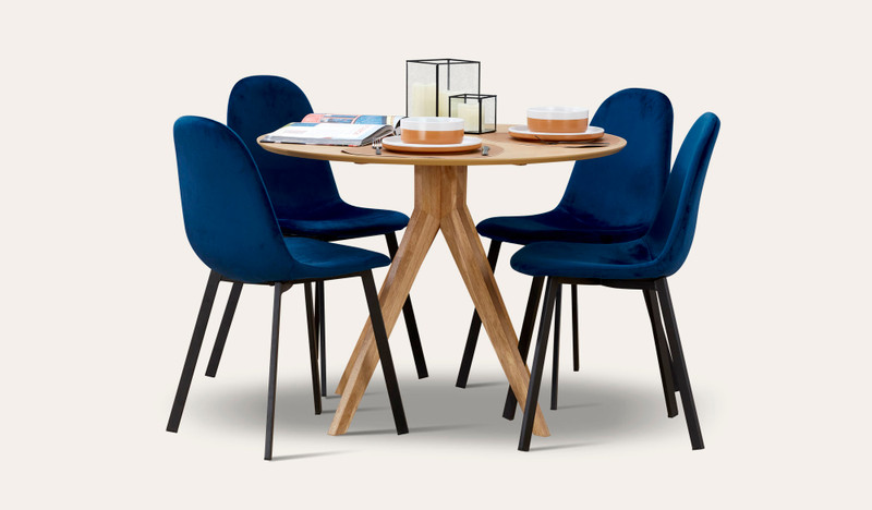 Zaria oak 5 pce suite with Orson chairs