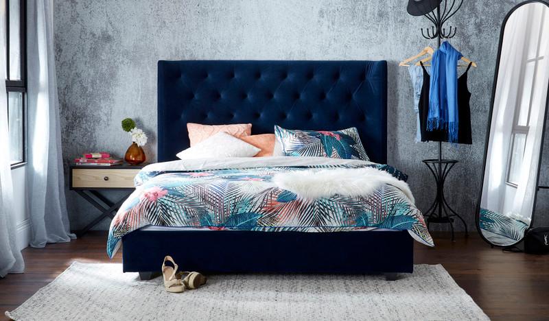 Grande blue velvet bed