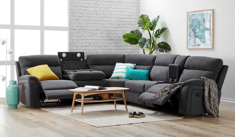 Branden 5 seat corner lounge with recliners