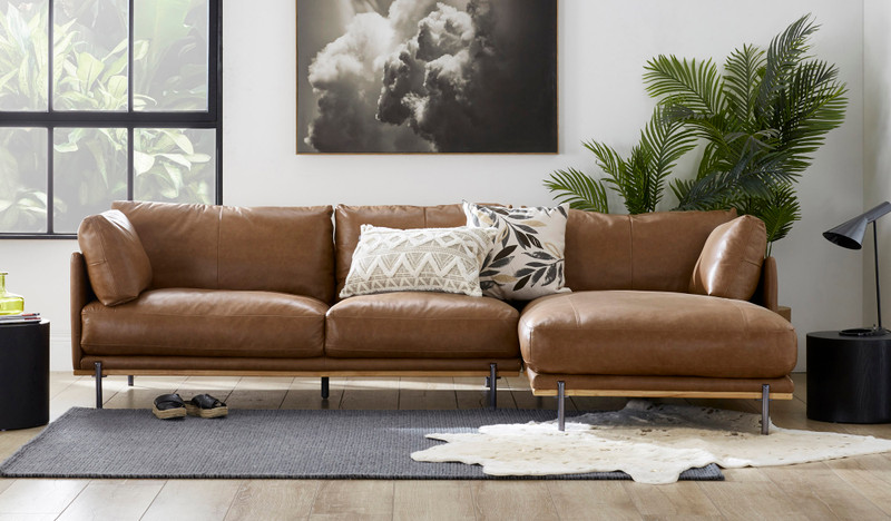 Ollie leather 3.5 seat seat lounge with chaise