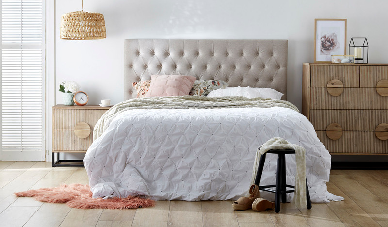 Quilted upholstered bedhead