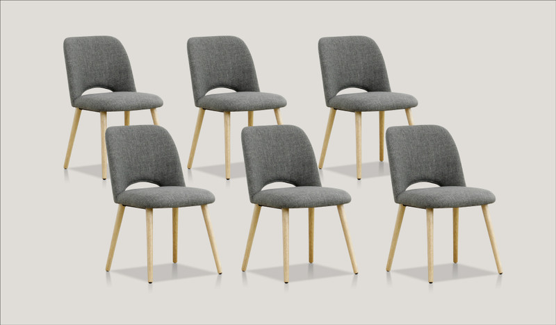 Alice set of 6 dining chairs (natural leg)