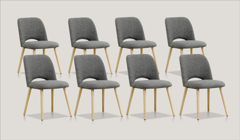 Alice set of 8 dining chairs (natural leg)