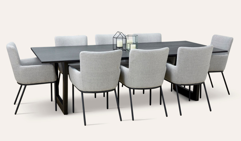 Naples hardwood dining suite with Astor chairs
