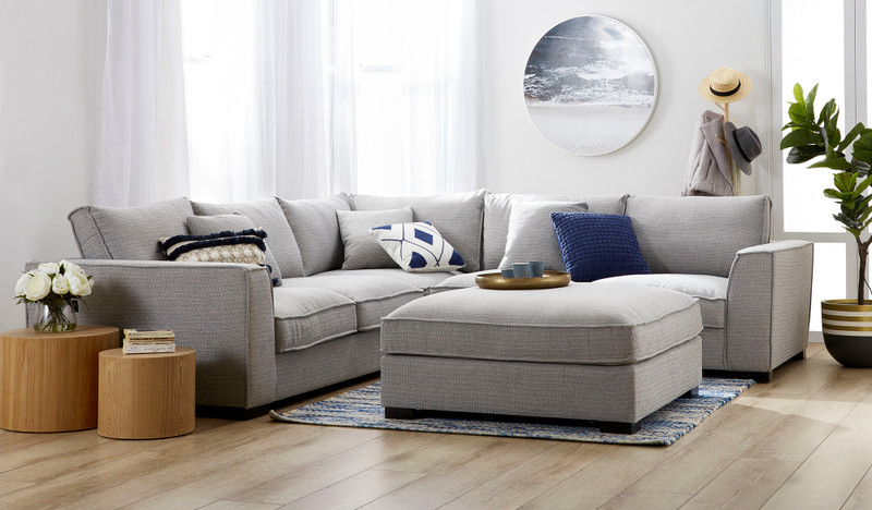 Aurora 6 seat corner lounge + ottoman