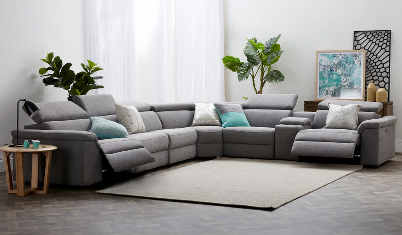 Camilla corner lounge with dual recliners