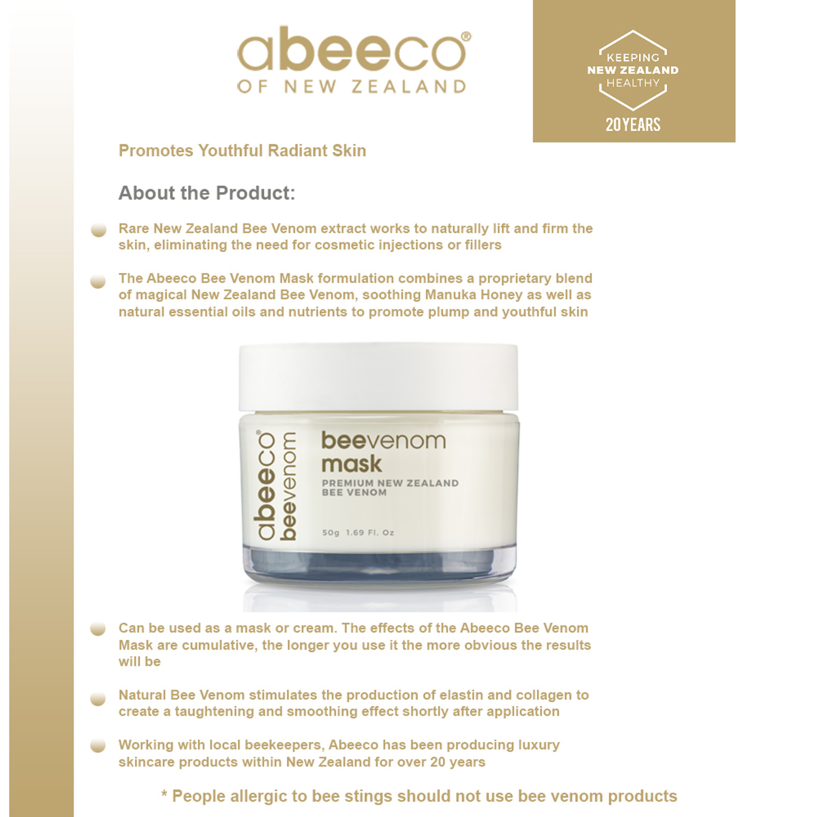 Abeeco Pure New Zealand Bee Venom Mask