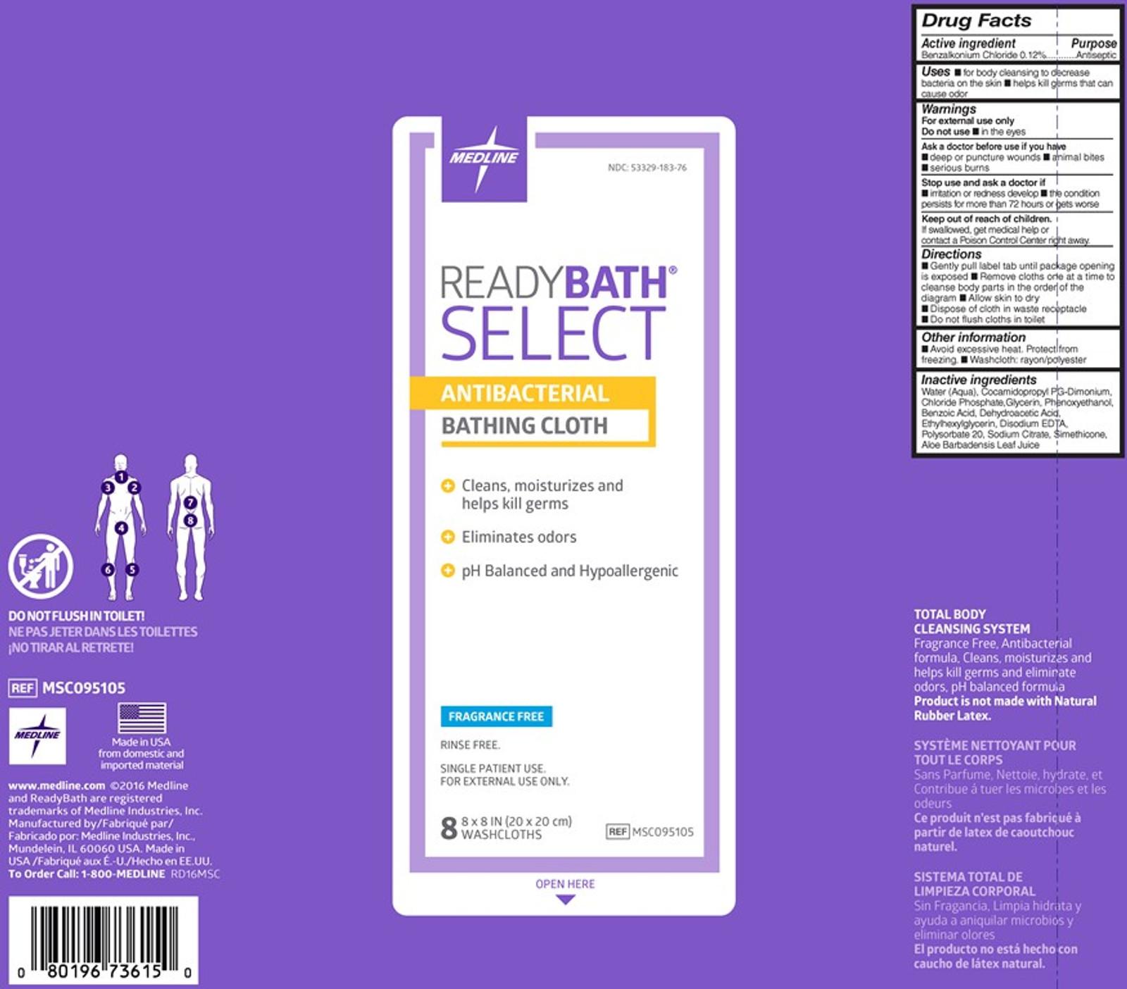 ReadyBath SELECT Medium-Weight Antibacterial Bathing Cloths Un-scented