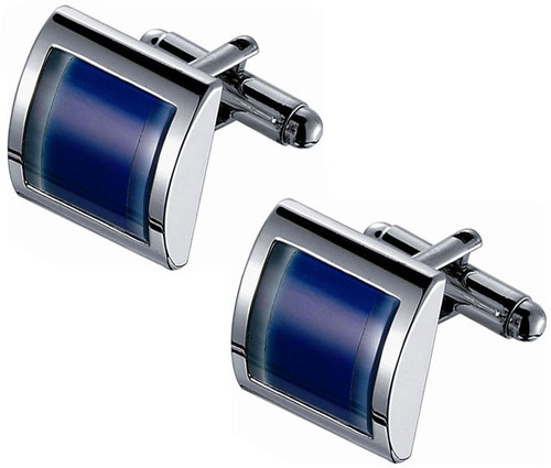 Blue Two-Tone Catseye Rhodium Plated Cufflinks