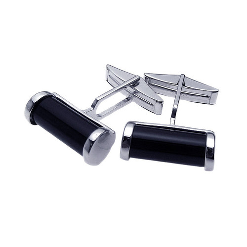 Men's Rhodium Plated Brass Black Onyx Cufflinks
