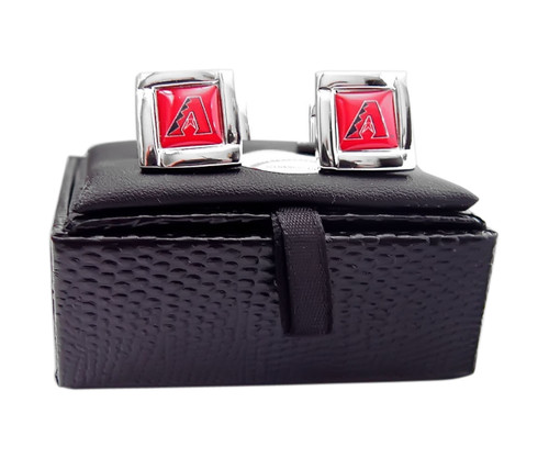 MLB Arizona Diamondbacks Square Cufflinks with Square Shape Engraved Logo Design Gift Box Set