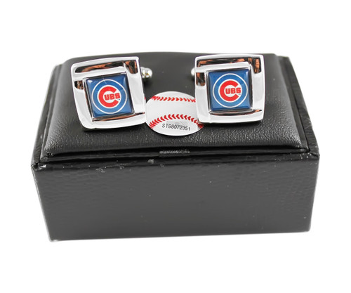 MLB Chicago Cubs Square Cufflinks with Square Shape Engraved Logo Design Gift Box Set