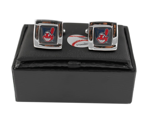 MLB Cleveland Indians Square Cufflinks with Square Shape Engraved Logo Design Gift Box Set