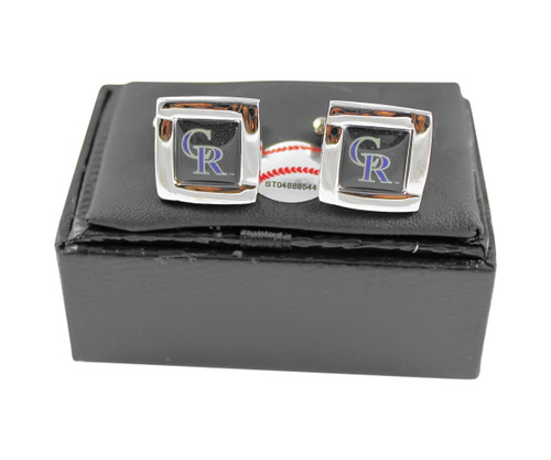 MLB Colorado Rockies Square Cufflinks with Square Shape Engraved Logo Design Gift Box Set
