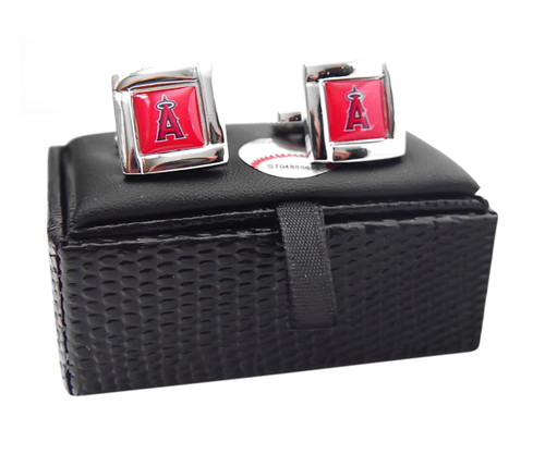 MLB LA LOS Angeles Angels Square Cufflinks with Square Shape Engraved Logo Design Gift Box Set
